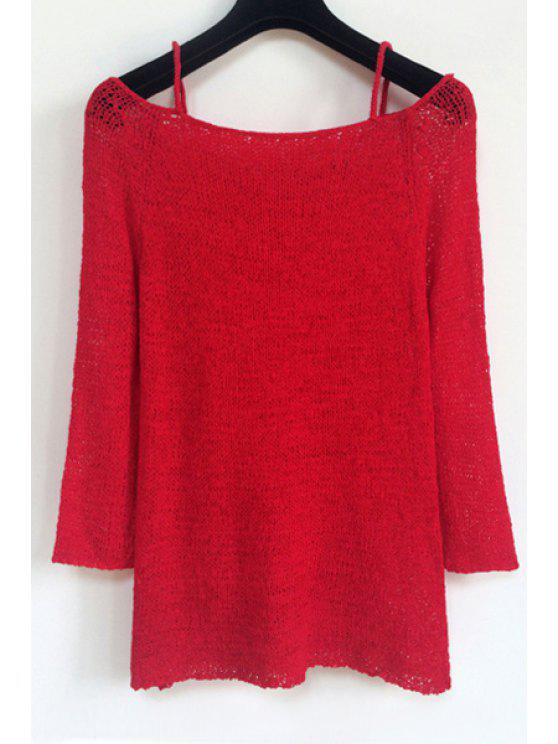 women's Spaghetti Strap Pure Color Long Sleeve Sweater - RED ONE SIZE(FIT SIZE XS TO M)