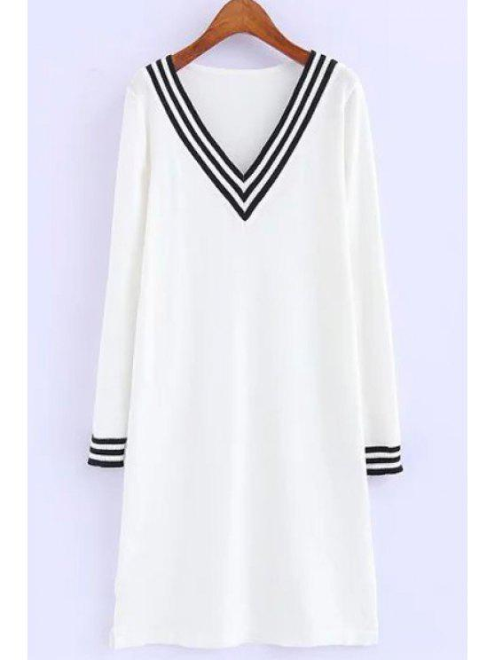 womens Striped Loose-Fitting Sweater Dress - WHITE ONE SIZE(FIT SIZE XS TO M)