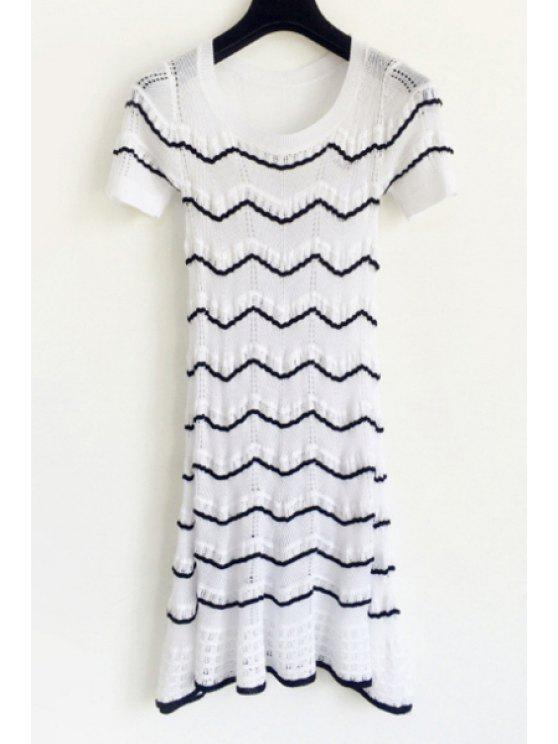 best Black Zig Zag Short Sleeve Dress - WHITE S