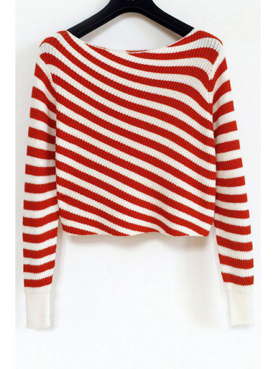 online Slash Neck Stripes Long Sleeve Sweater - RED ONE SIZE(FIT SIZE XS TO M)