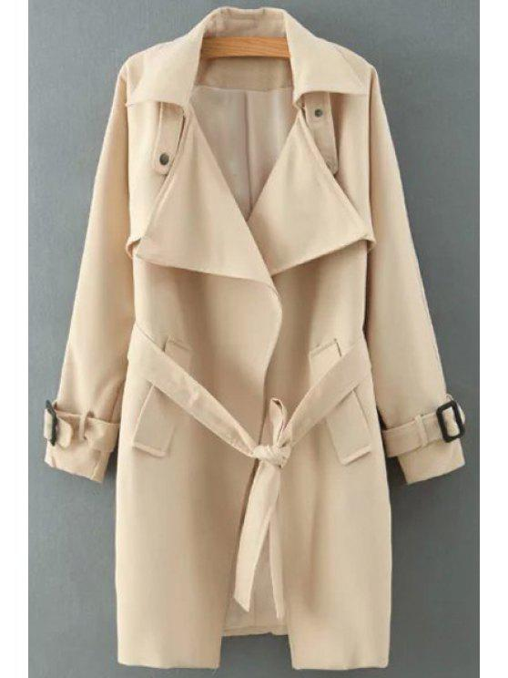outfit Solid Color Self-Tie Belt Trench Coat - KHAKI L