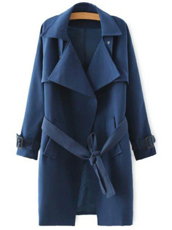 latest Solid Color Self-Tie Belt Trench Coat - DEEP BLUE S