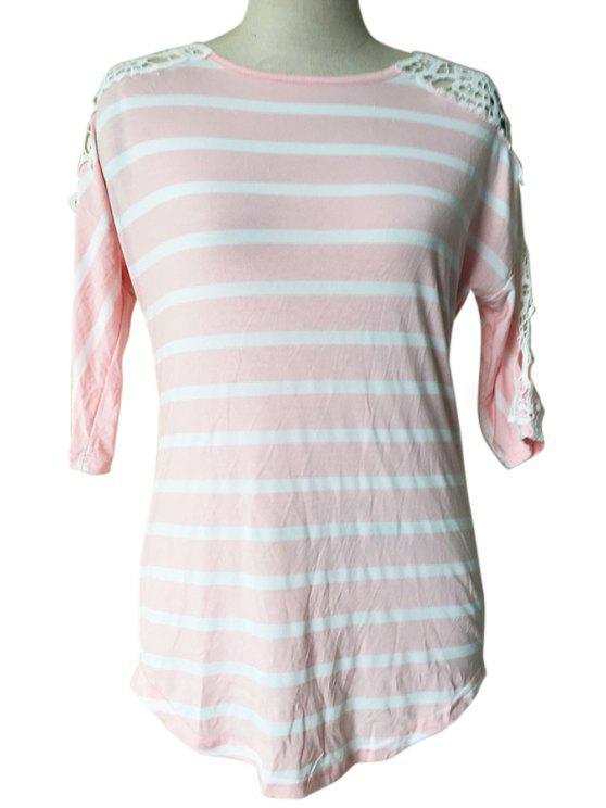 new Stipes Round Neck Half Sleeve T-Shirt - PINK S