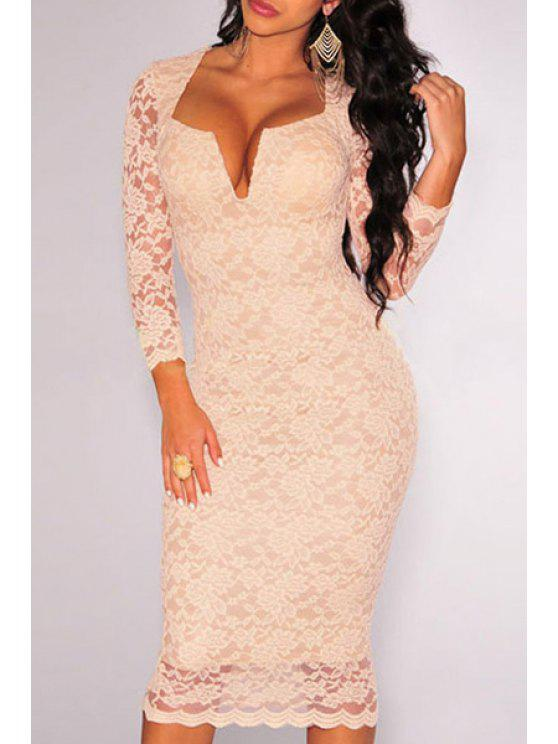 affordable Deep V Neck Solid Color Lace Dress - YELLOWISH PINK ONE SIZE(FIT SIZE XS TO M)