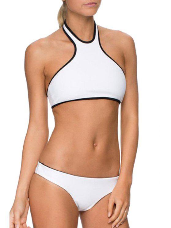 affordable Halter Neck Black Edging Bikini Set - WHITE S