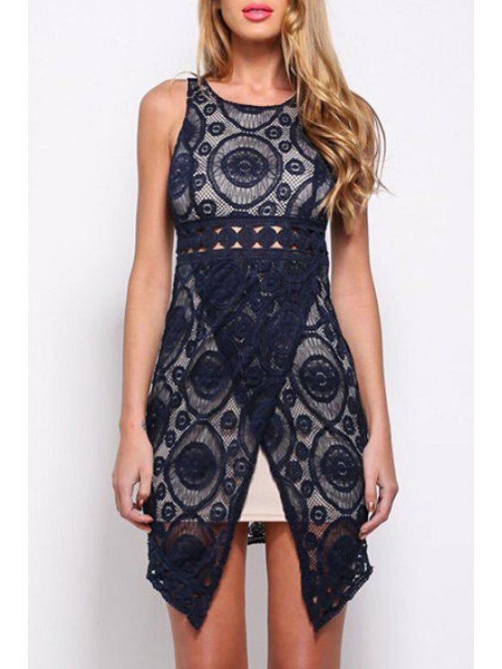 buy Scoop Neck Round Pattern Openwork Dress - BLACK ONE SIZE(FIT SIZE XS TO M)