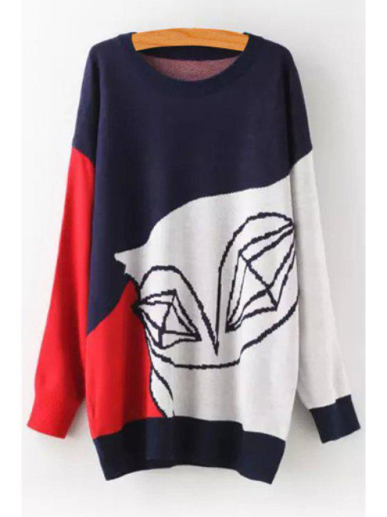 sale Long Sleeve Color Block Jumper - RED ONE SIZE(FIT SIZE XS TO M)