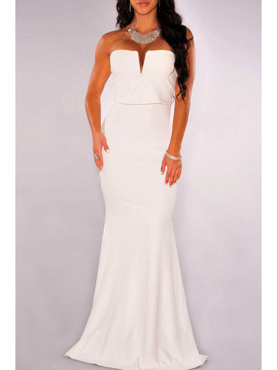 best Strapless Solid Color Sleeveless Maxi Dress - WHITE ONE SIZE(FIT SIZE XS TO M)