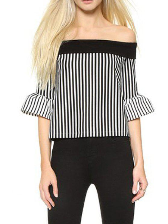 womens Slash Neck Ruffle Sleeve Striped Sweater - BLACK ONE SIZE(FIT SIZE XS TO M)