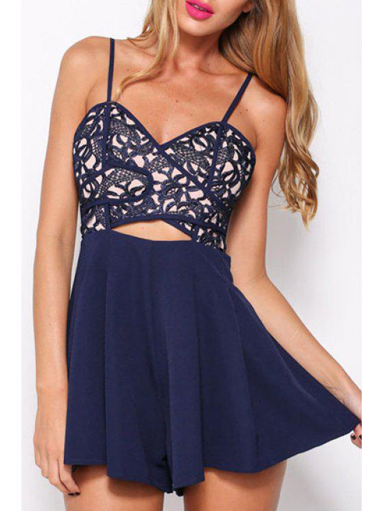 outfit Spaghetti Strap Hollow Out Floral Pattern Romper - BLUE L