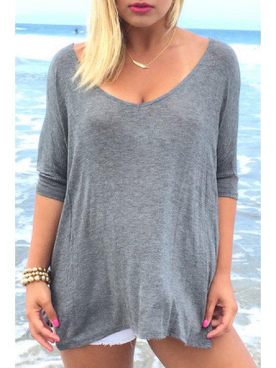 T-shirt à manches longues à manches courtes à manches courtes - gris M