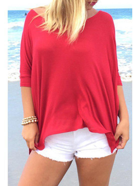 T-shirt à manches longues à manches courtes à manches courtes - Rouge M