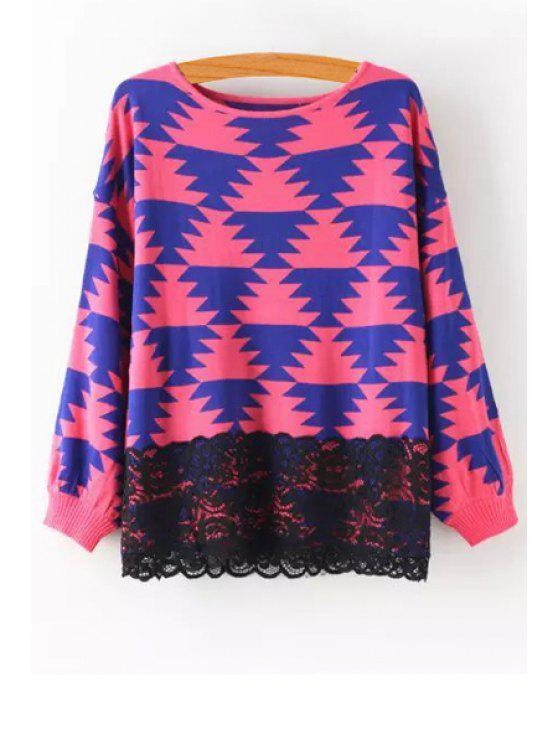 best Geometric Pattern Lace Spliced Sweater - RED ONE SIZE(FIT SIZE XS TO M)