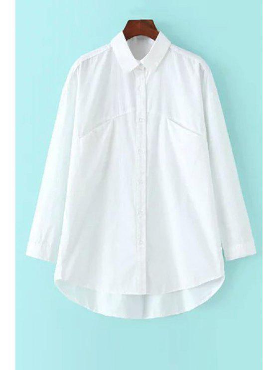 fashion White Shirt Neck Long Sleeve Loose Shirt - WHITE S