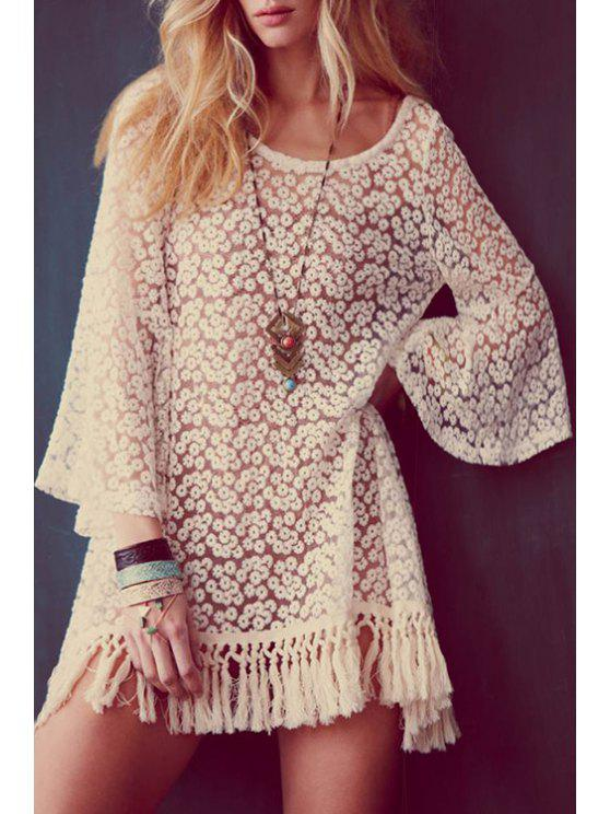 unique Bell Sleeve Tassels Lace Dress + Spaghetti Strap Tank Top Twinset - WHITE M