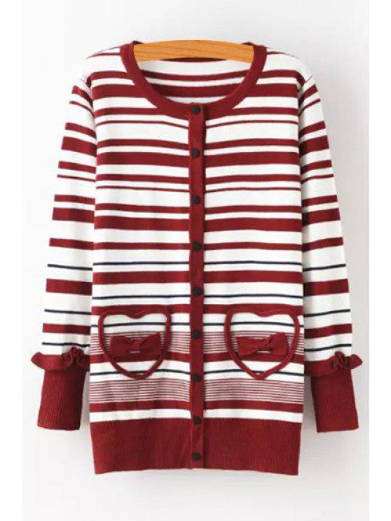 hot Striped Bowknot Embellished Long Cardigan - RED ONE SIZE(FIT SIZE XS TO M)