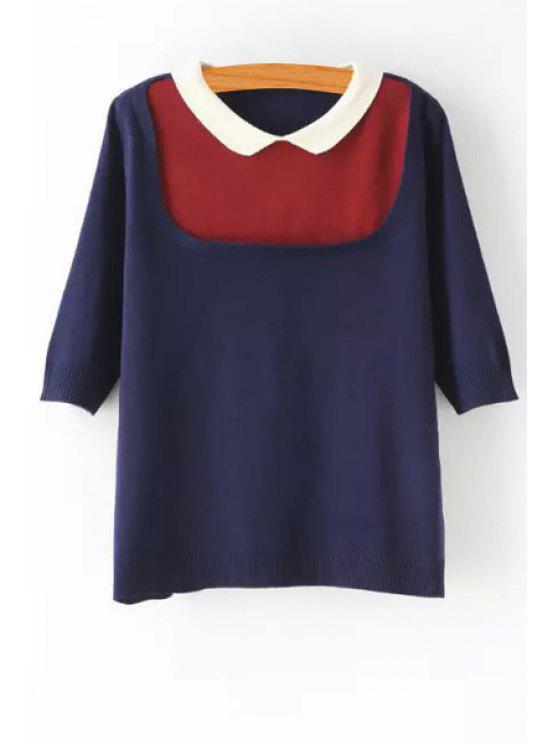 shop Peter Pan Collar Color Block Sweater - BLUE ONE SIZE(FIT SIZE XS TO M)