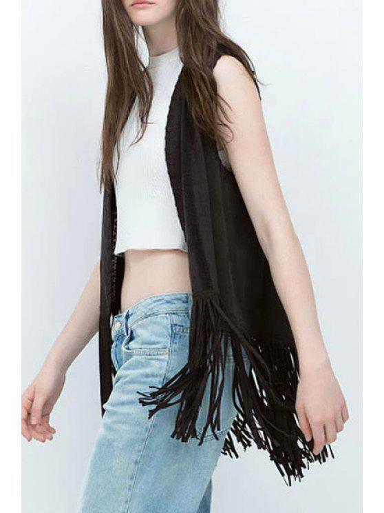 women's Open Front Tassels Suede Waistcoat - BLACK ONE SIZE(FIT SIZE XS TO M)