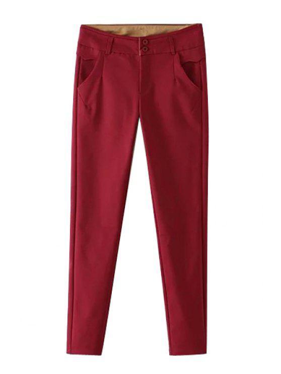 Pies estrechos mediados de cintura roja Pantalones - Rojo L