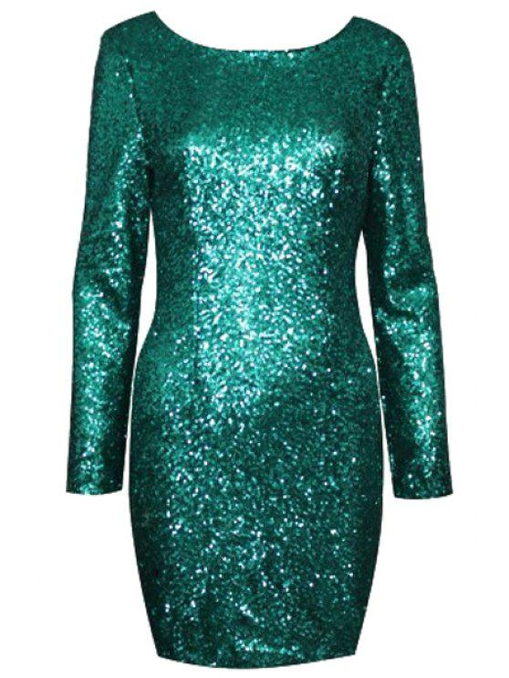 women Sequins Scoop Collar Long Sleeve Dress - GREEN XS