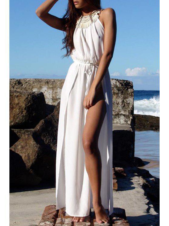 sale White Cami High Slit Maxi Dress - WHITE S