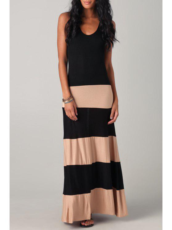 fashion Scoop Neck Color Block Stripes Maxi Dress - BLACK S