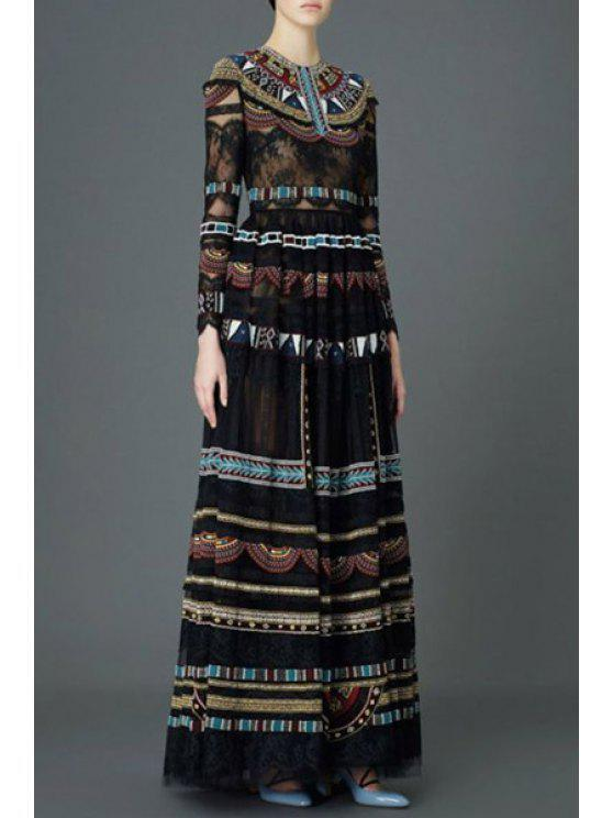 latest Long Sleeve Printed Voile Maxi Dress - BLACK S