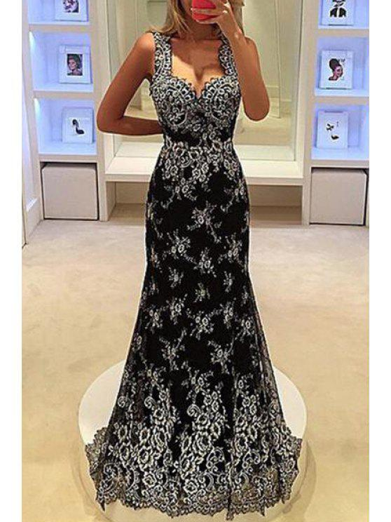 lady V Neck Floral Pattern Maxi Dress - BLACK S