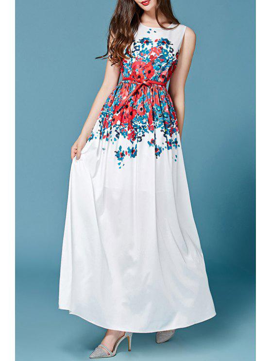 online Sleeveless Floral Maxi Dress With Belt - WHITE L