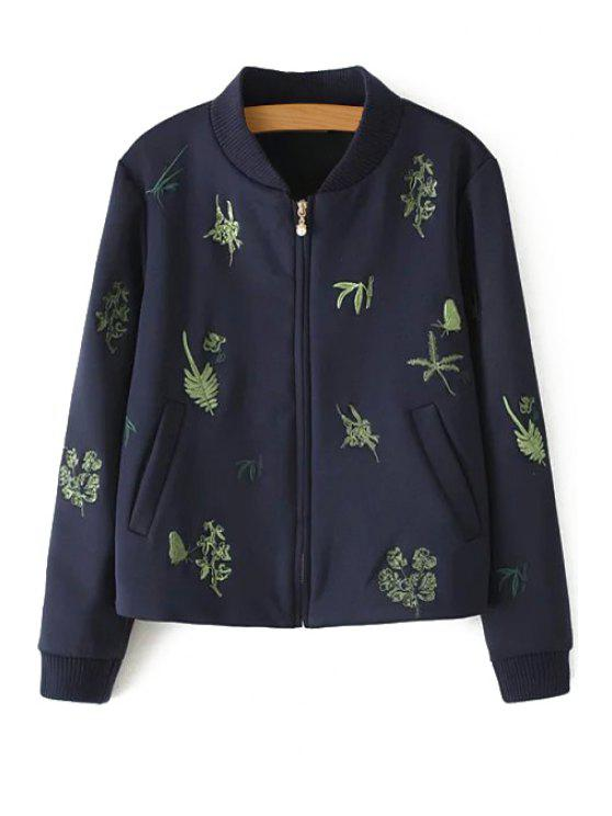 women Leaf Embroidery Stand Neck Long Sleeve Jacket - CADETBLUE S