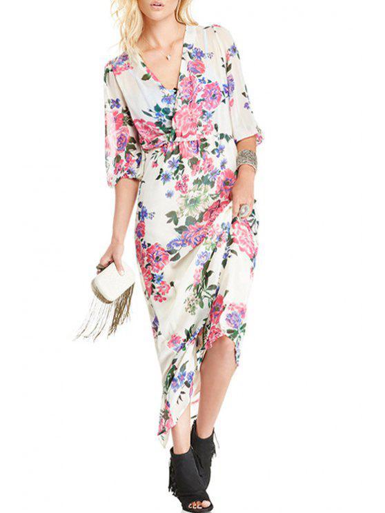 fancy Half Sleeve Floral Chiffon Maxi Dress - WHITE S