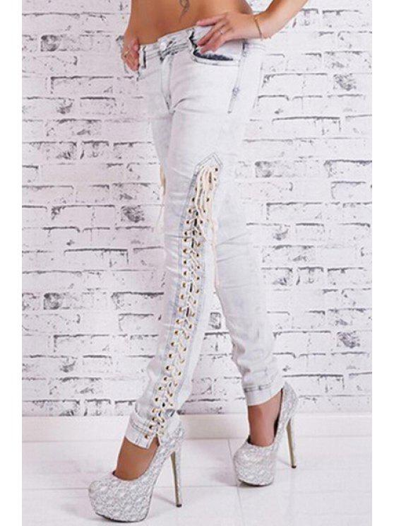 fashion Bleach Wash Lace Up Jeans - WHITE S