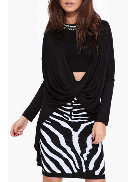 buy Front Twist High Low T-Shirt - BLACK S