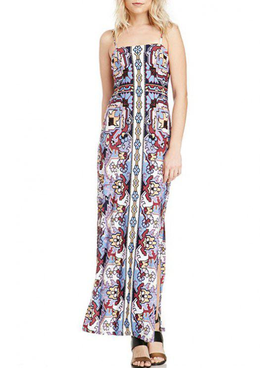 fashion Spaghetti Strap Printed Maxi Slit Dress - COLORMIX S