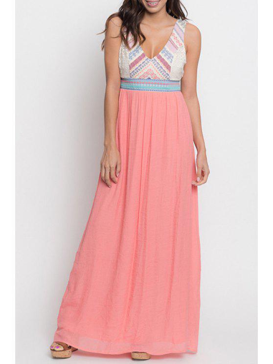 hot V Neck Color Block Backless Dress - PINK S