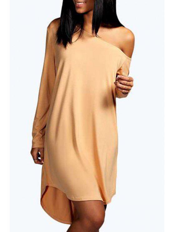 women's One-Shoulder Long Sleeve Dress - APRICOT XL
