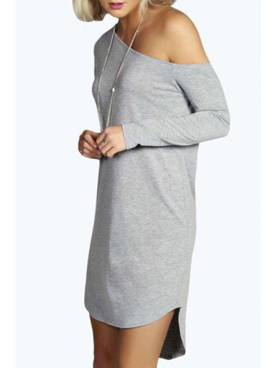 ladies One-Shoulder Long Sleeve Dress - GRAY S