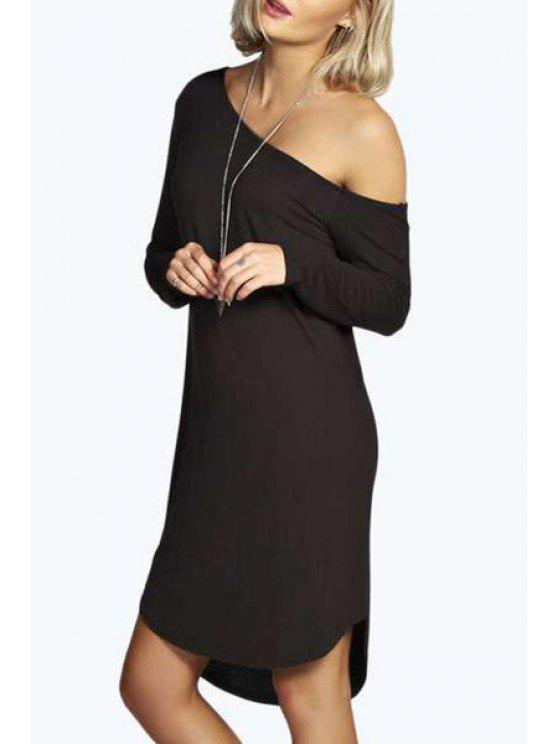 new One-Shoulder Long Sleeve Dress - BLACK S
