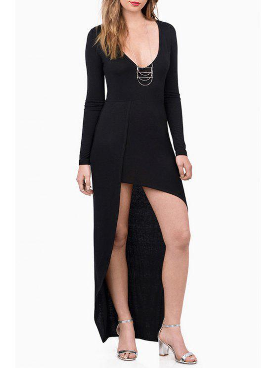 affordable Long Sleeve Asymmetrical Dress - BLACK S