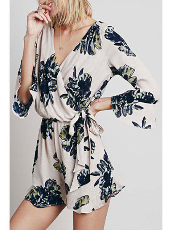 womens Ruffle Sleeve Vintage Floral Playsuit - WHITE S