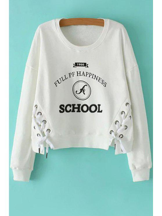 ladies Letter Print Long Sleeve Lace Up Sweatshirt - WHITE S