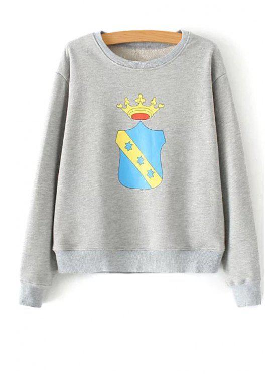 outfits Crown Print Long Sleeve Sweatshirt - GRAY S