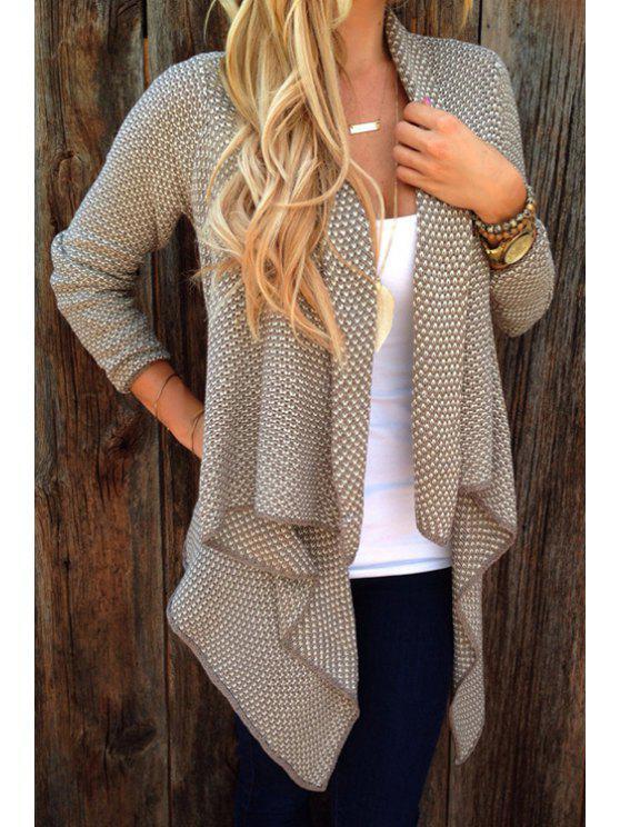 hot Asymmetrical Tiny Plaid Long Sleeve Cardigan - KHAKI S