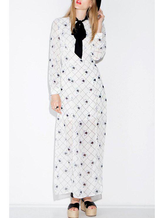 unique Bow Tie Collar Daisy Print Long Sleeve Dress - WHITE AND BLACK S