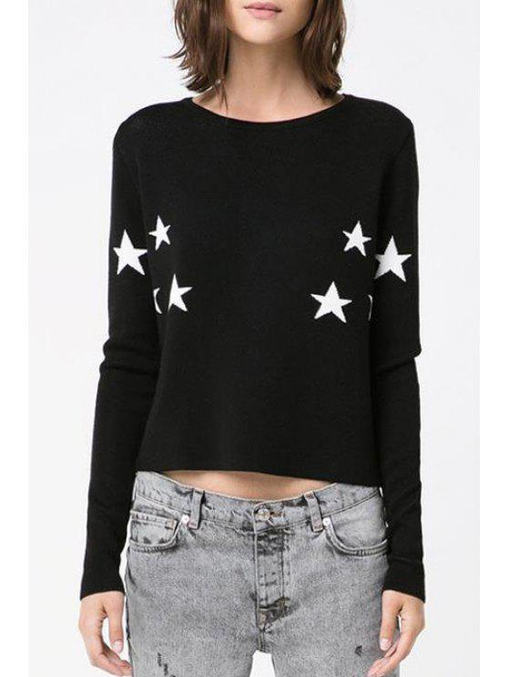 outfits Star Pattern Long Sleeve Jumper - BLACK M