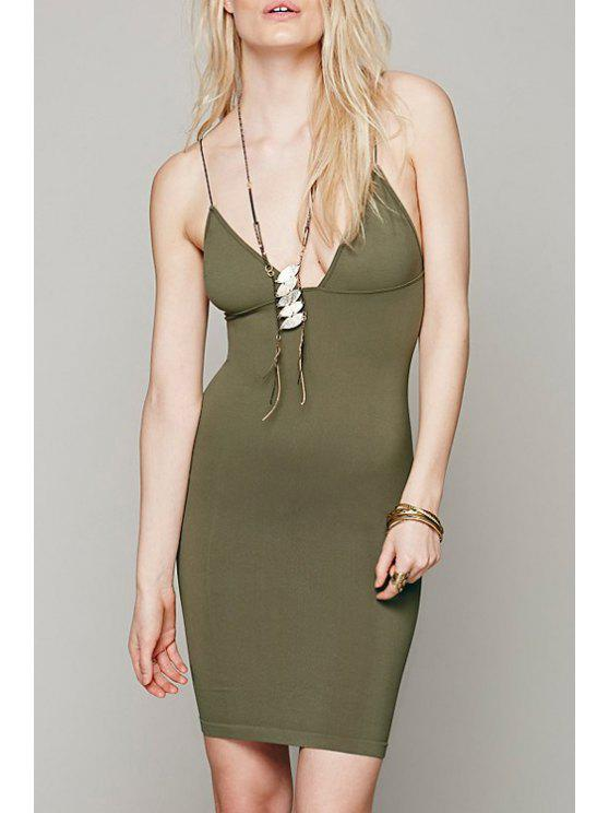 shop Solid Color Bodycon Cami Dress - ARMY GREEN S