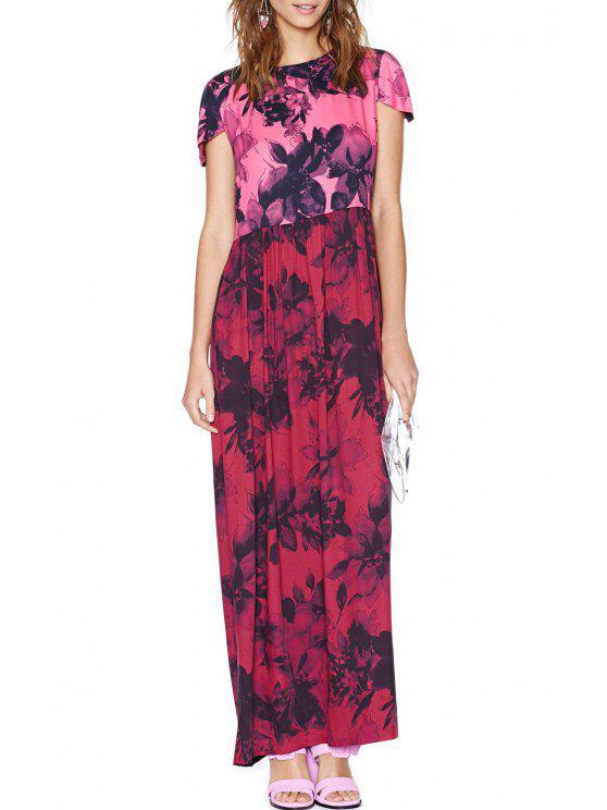 unique Black Floral Print Short Sleeve Dress - RED S
