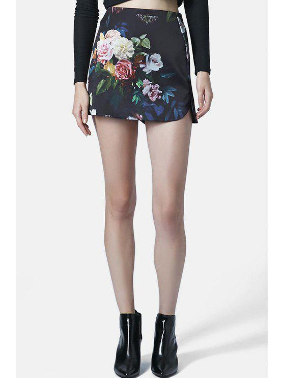 women Flower Print High Waist Skirt - PURPLISH BLUE S