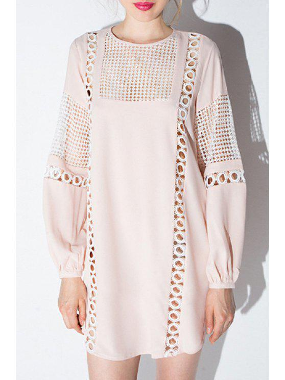 affordable Long Lantern Sleeve Openwork Dress - PINK L
