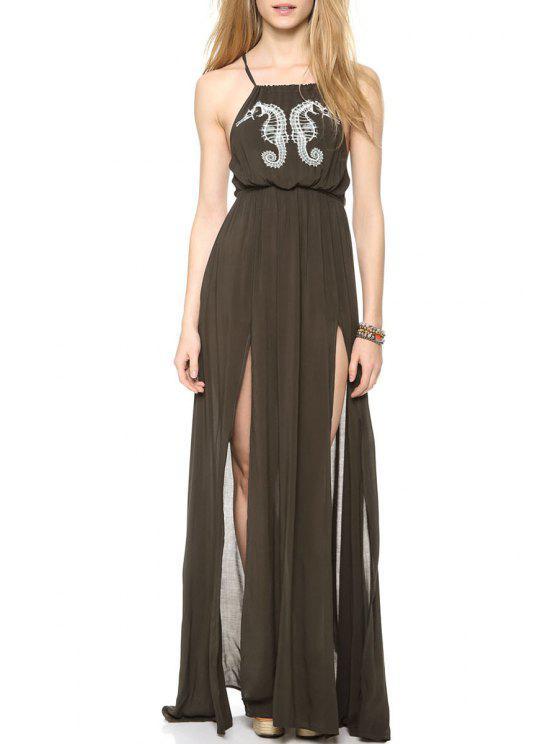 best Spaghetti Strap Sea Horse Print Backless Dress - ARMY GREEN S